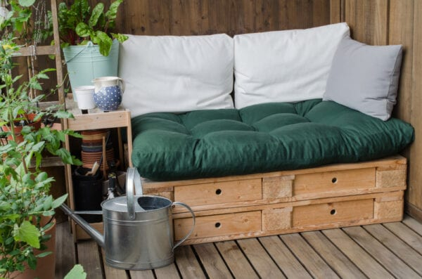 Outdoor bed made from wood pallets