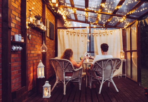 Balcony with cozy lights